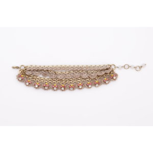 Venus Triple Strap Gold Crochet Bracelet - Lemon Blush