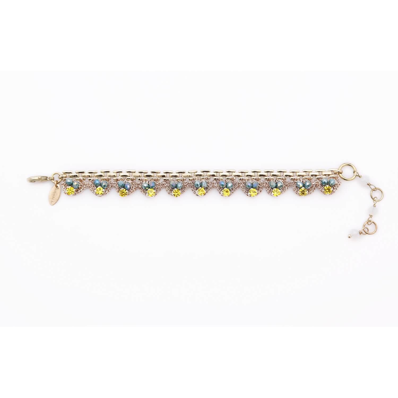 Venus Gold Strap Crochet Bracelet - Lemon Sapphire