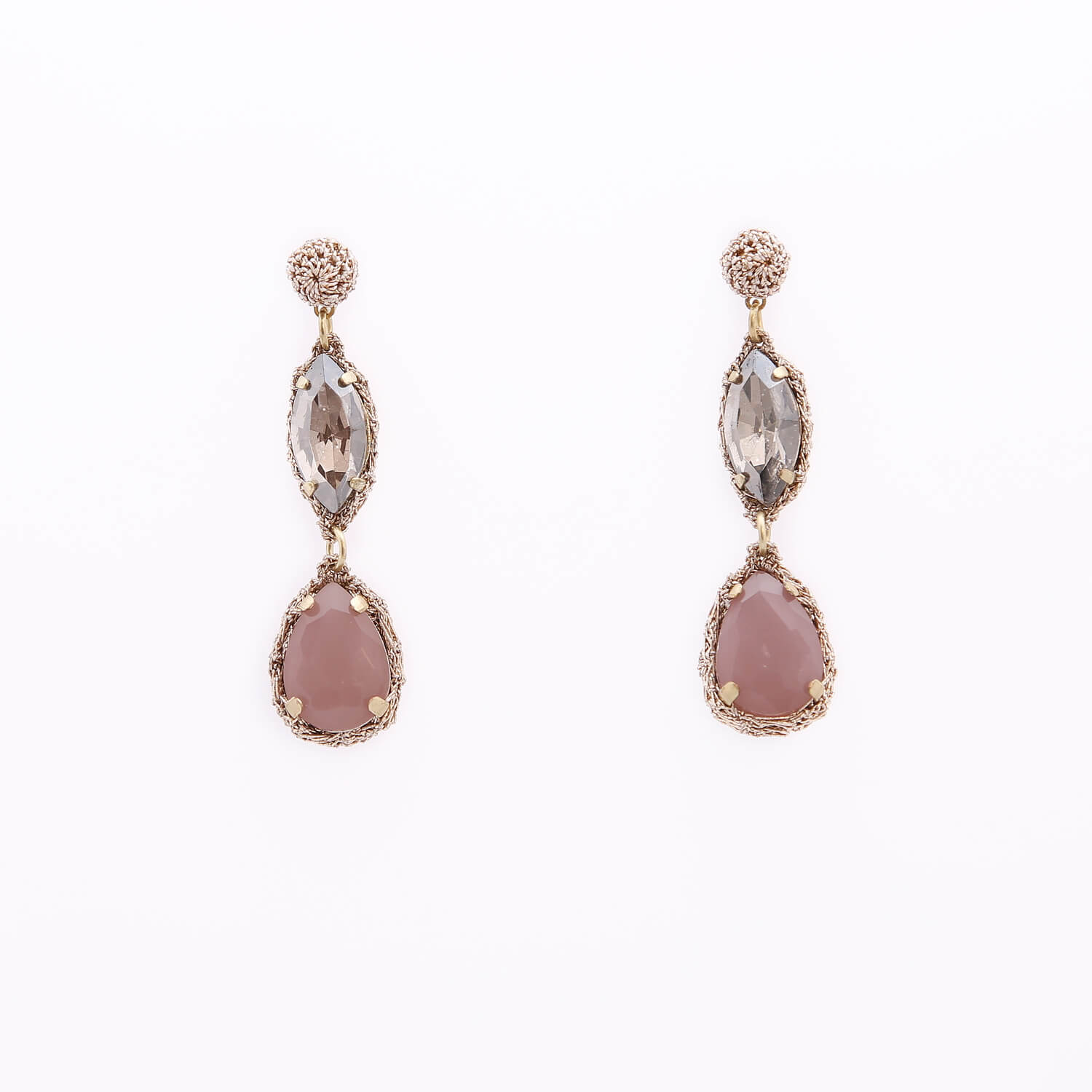 Venus Honey Drop Earrings in Silver Shade-Pastel Blush