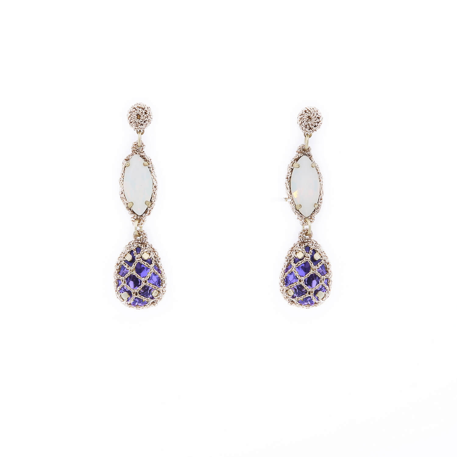 Venus Honey Drop Earrings in Opal-Sapphire