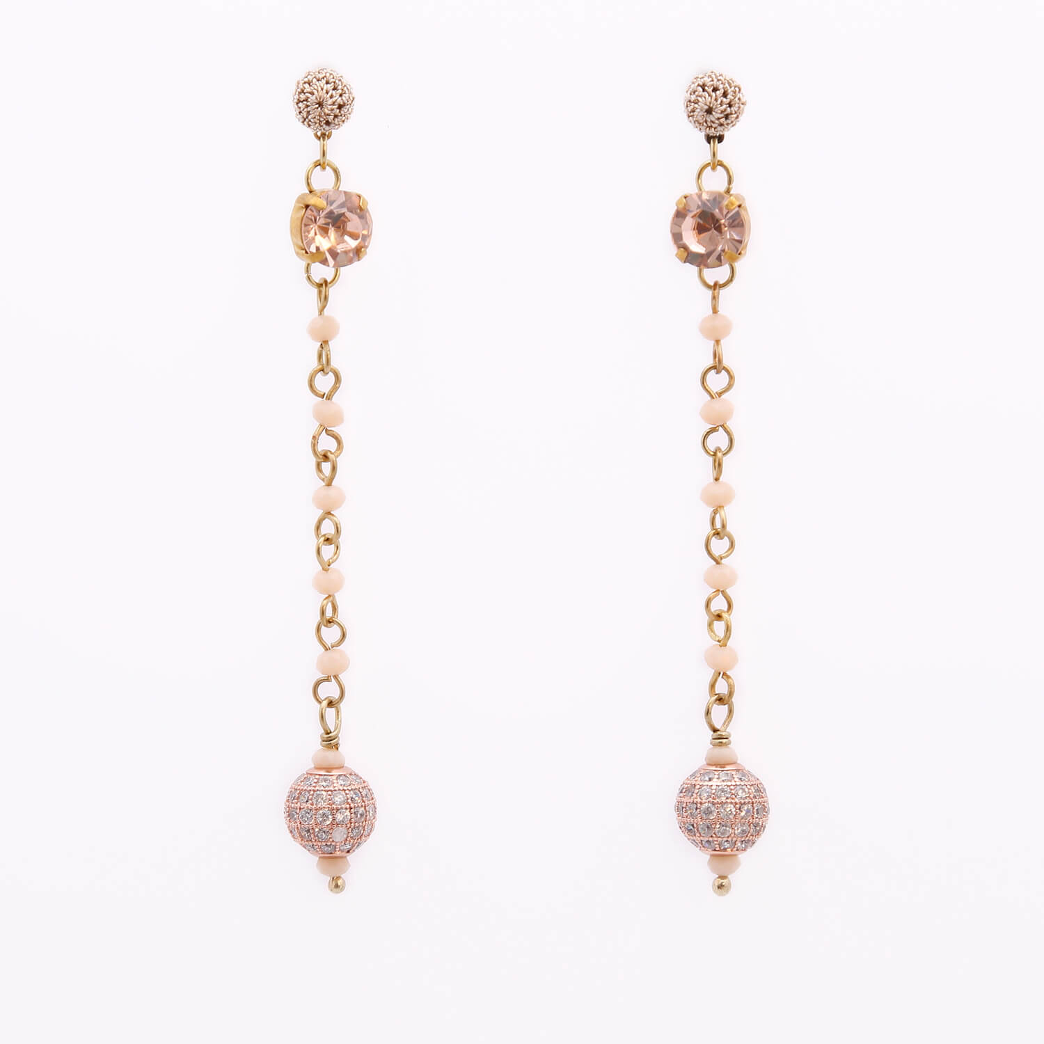 Venus Stud Crochet Long Earring With Crochet Drop - Blush Colour