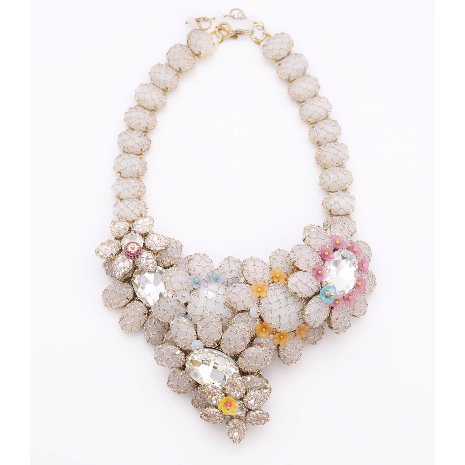 Venus Sun Flower Large Crystal Necklace - Opal White Coral