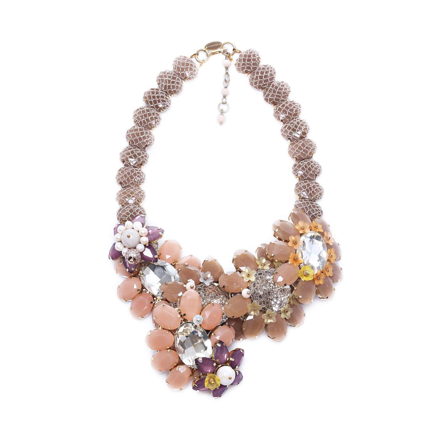 Venus Sun Flower Large Crystal Necklace - Pastel Blush Peach