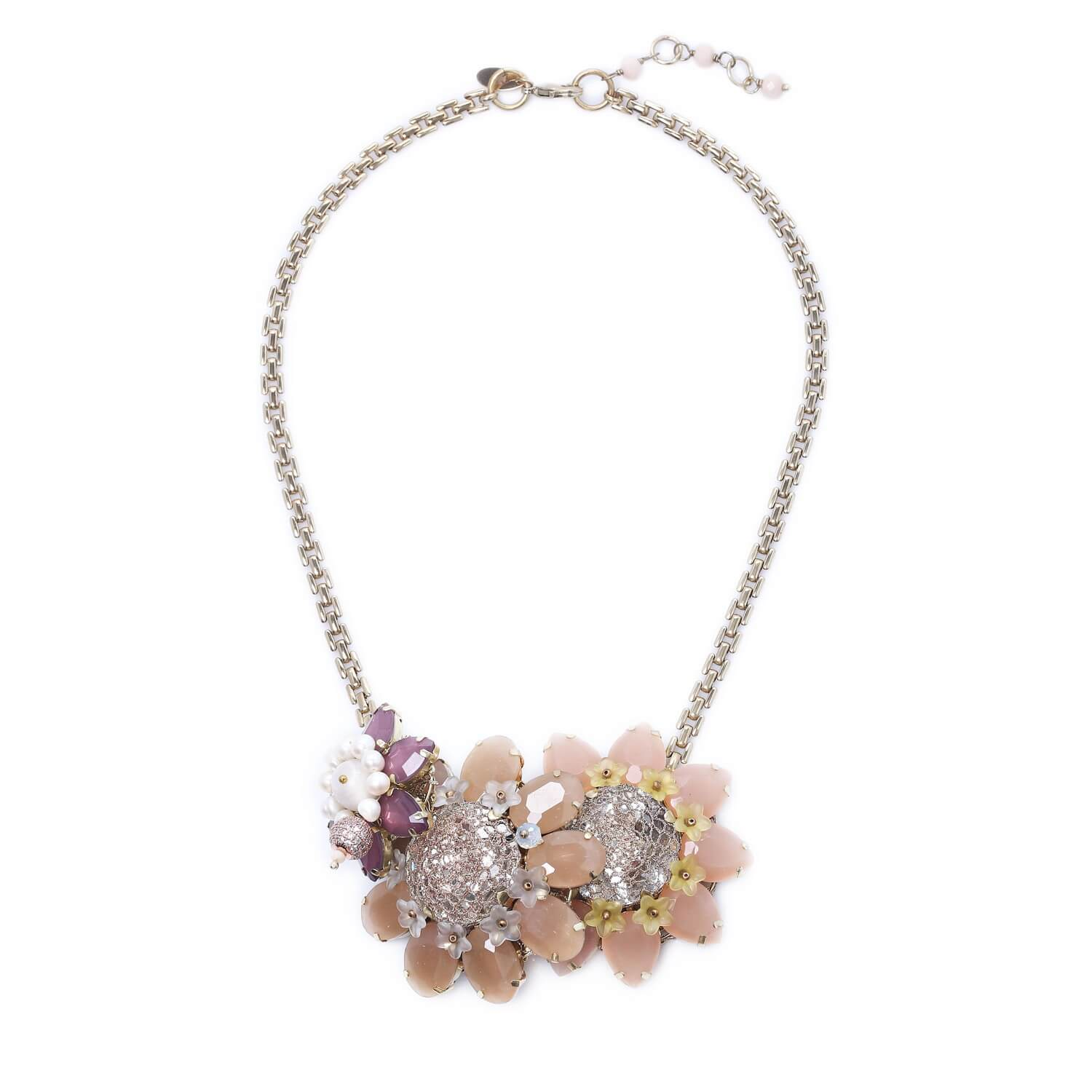 Venus Sun Flower Trio Crystal Necklace - Pastel Blush Peach