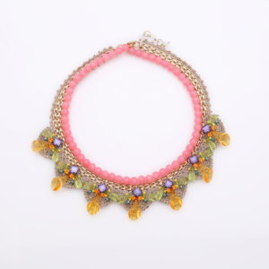 Venus String of Pearls Deco Necklace - Blush Lime Tangerine