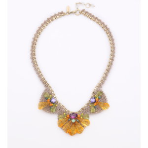 Venus Scallop Cone Deco Necklace - Lime Tangerine