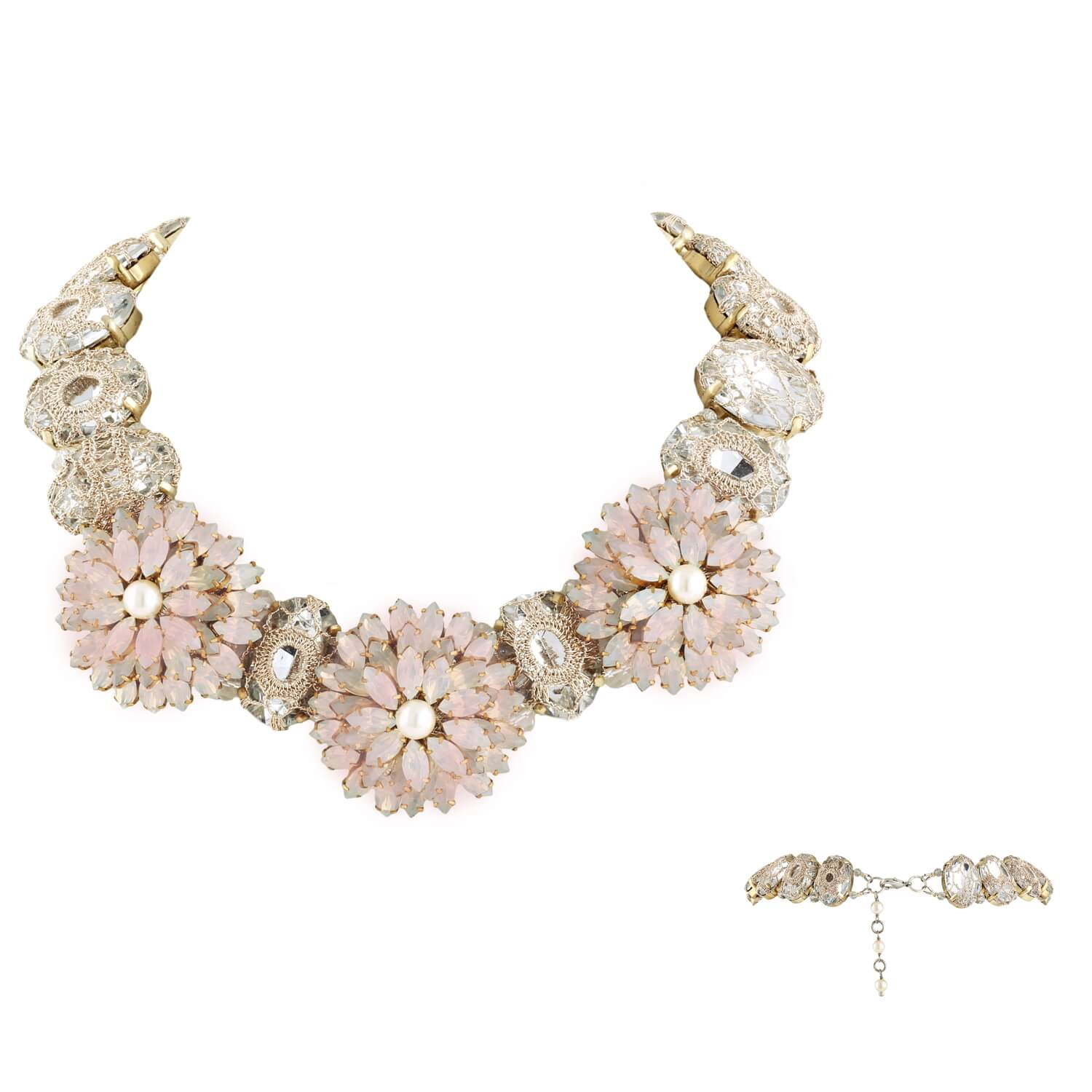 Pink Opal Blossom Necklace- Opal Clear Pearl Pink