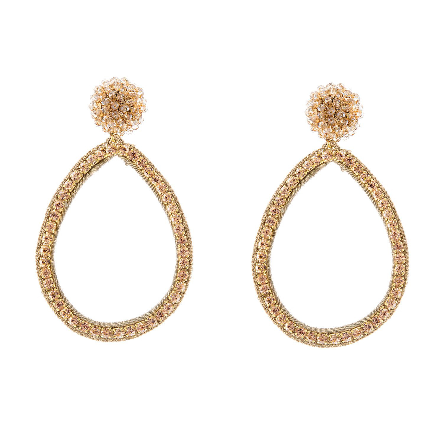 Magdalena Gold Hoop Earring- Champagne