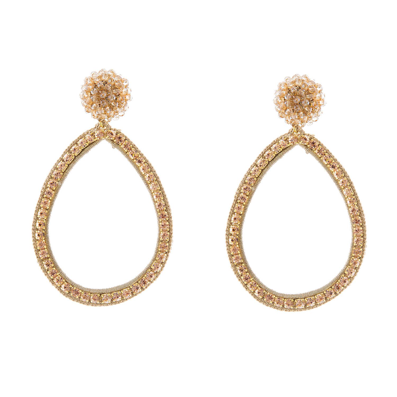 Magdalena Gold Hoop Earring- Champagne