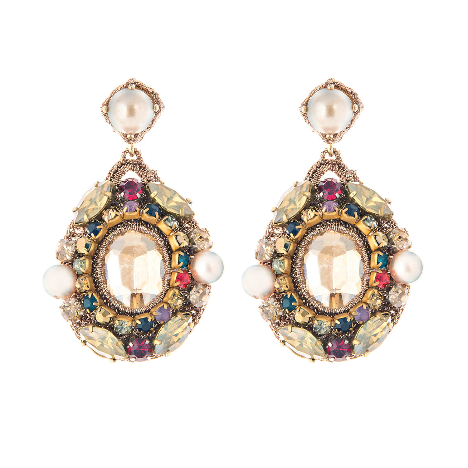 Isolde Queen Earring- Multi-Colour Gold