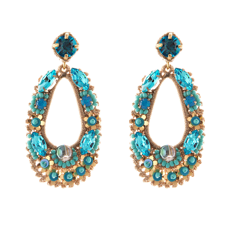 Natasha Aqua Earring- Aqua Gold