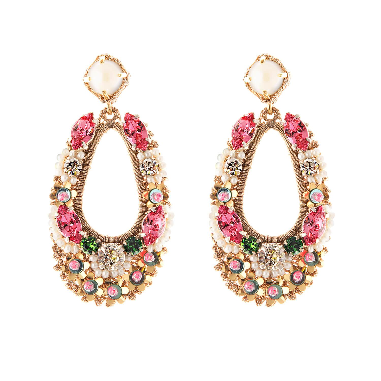 Natasha Fuchsia Earring- Fuschia Gold Moss Green