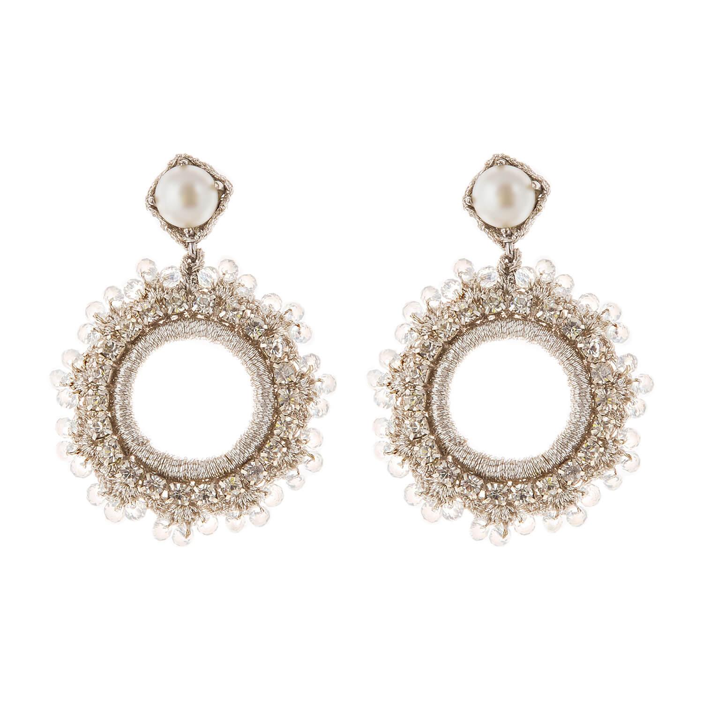 Leya Crystal Earring- Clear Pearl