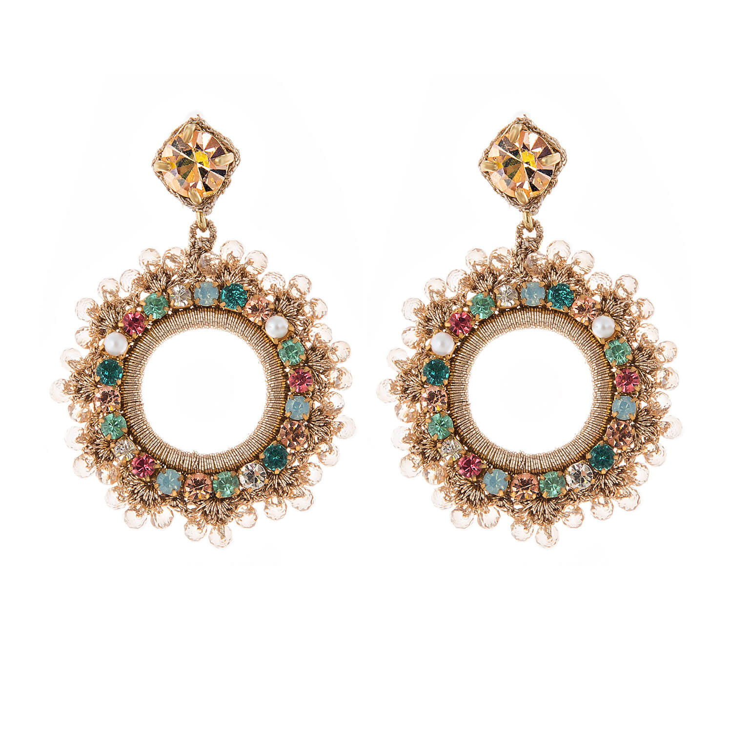 Leya Multi Colour Earring- Multi-Colour Gold