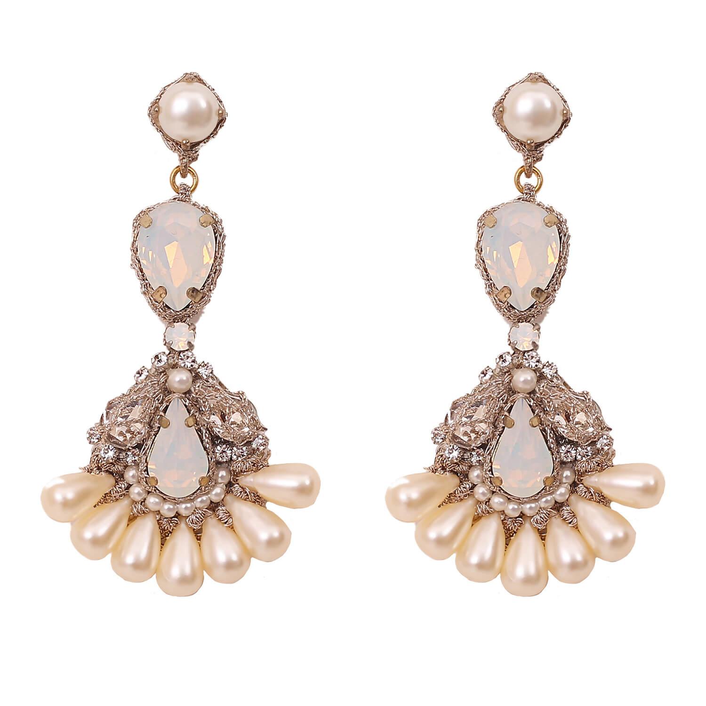 Porta Chandelier Earring- Opal Clear Pearl
