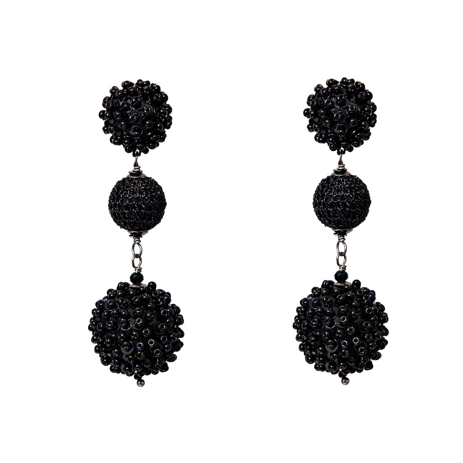 Triple Disco Ball Earring- Jet Black