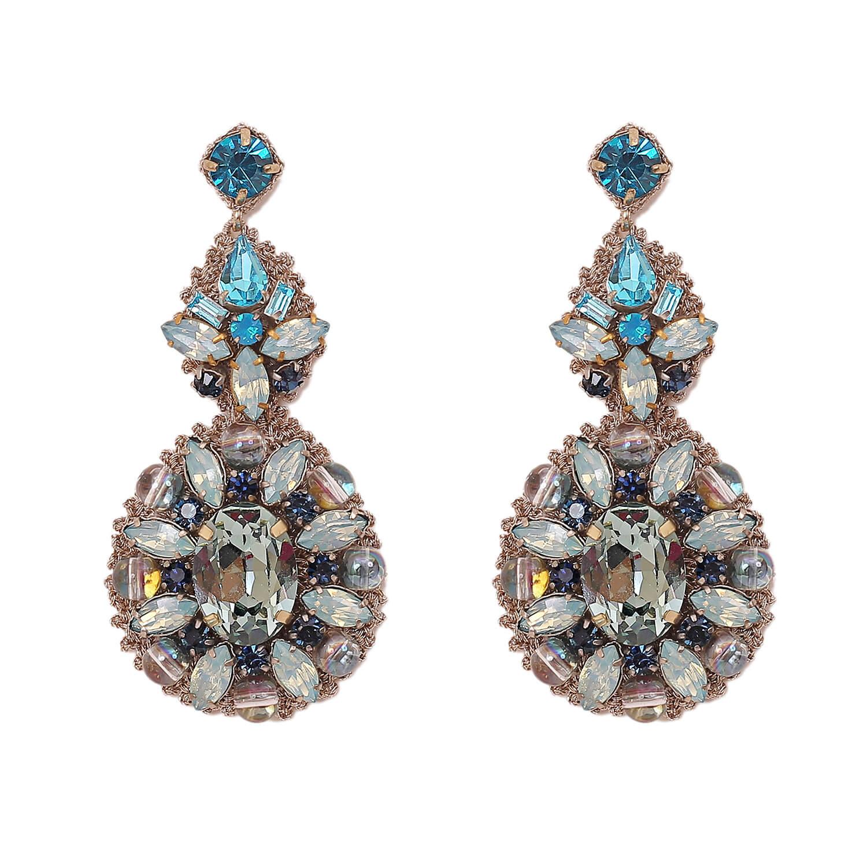 Lynette Aqua Chandelier Earring- Aqua Opal
