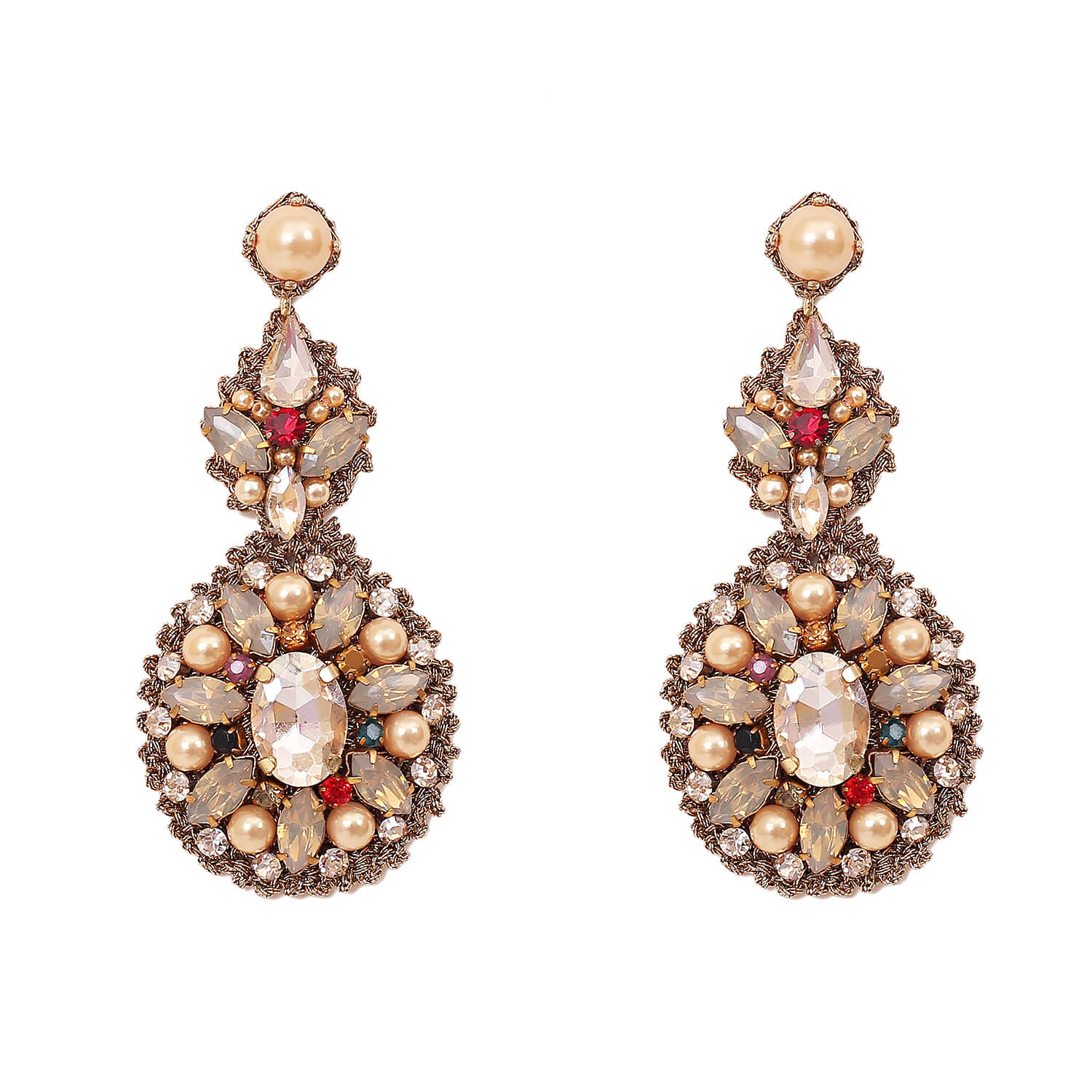 Lynette Queen Chandelier Earring- Multi-Colour Gold