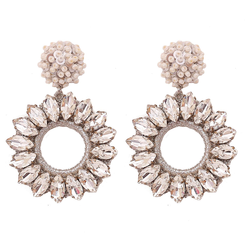Lorelai Crystal Earring- Clear Pearl