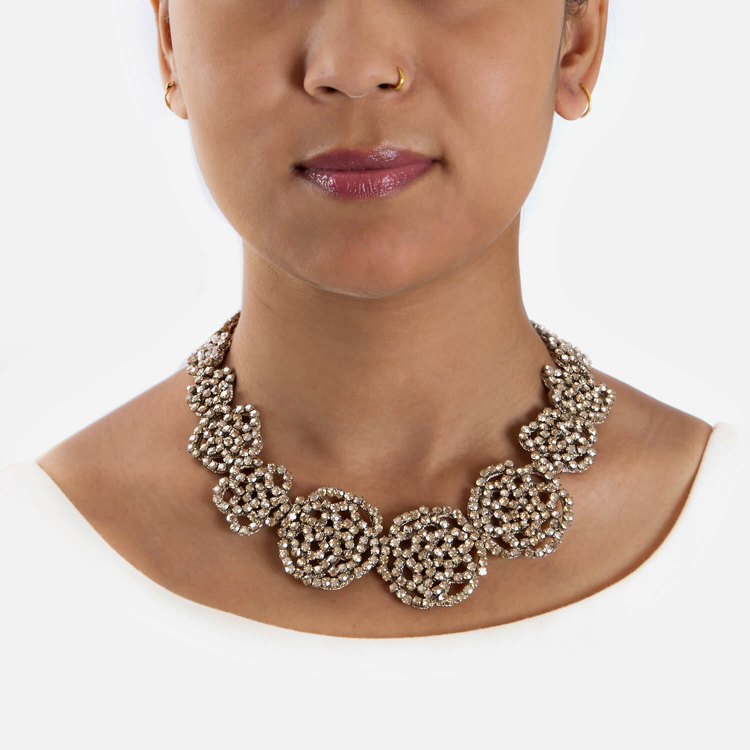Elspeth Champagne Necklace - Model