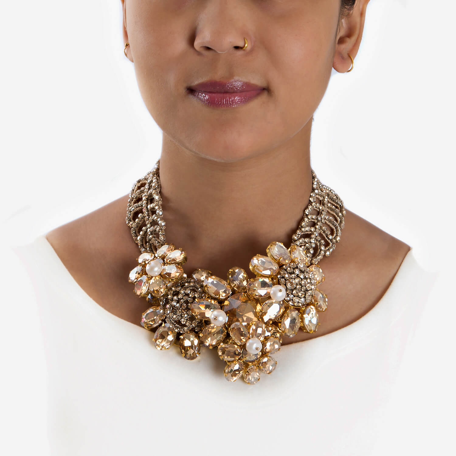 Rosanna Champagne Necklace - Model