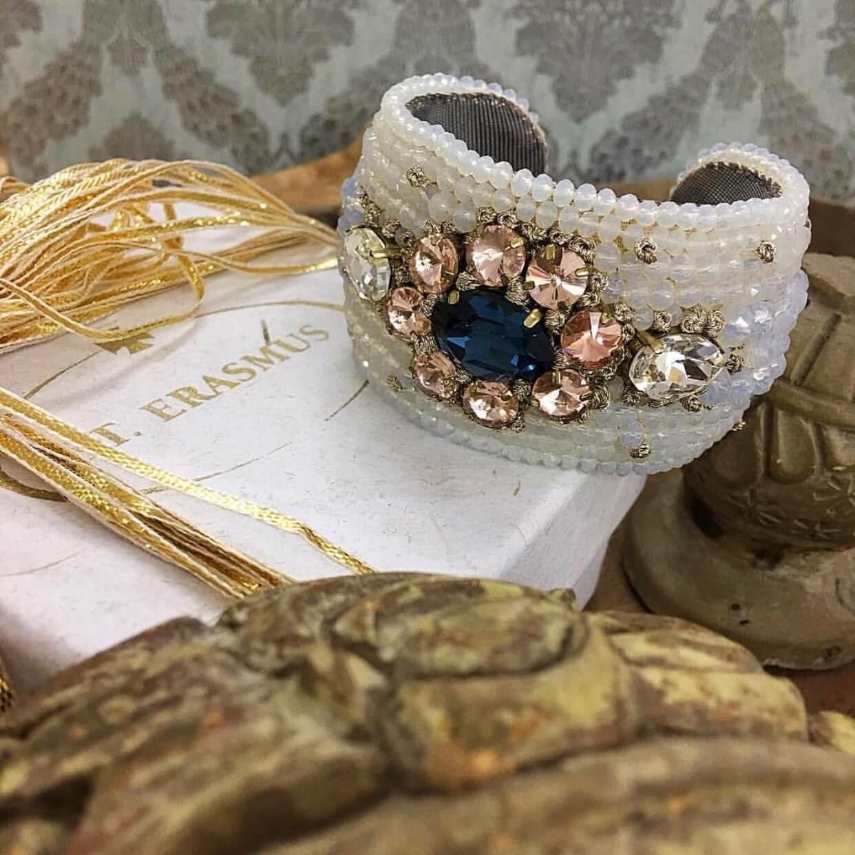 Frangipani Crystal Floral Cuff - Sapphire Blush