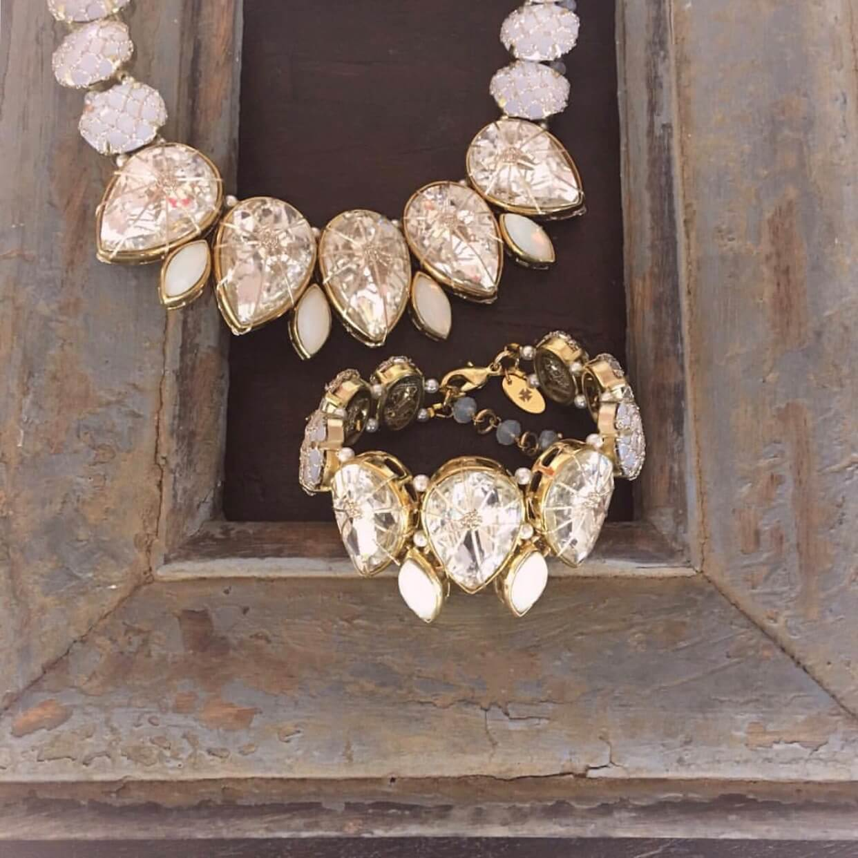 Frangipani Tear Drop Petal Crystal Bracelet