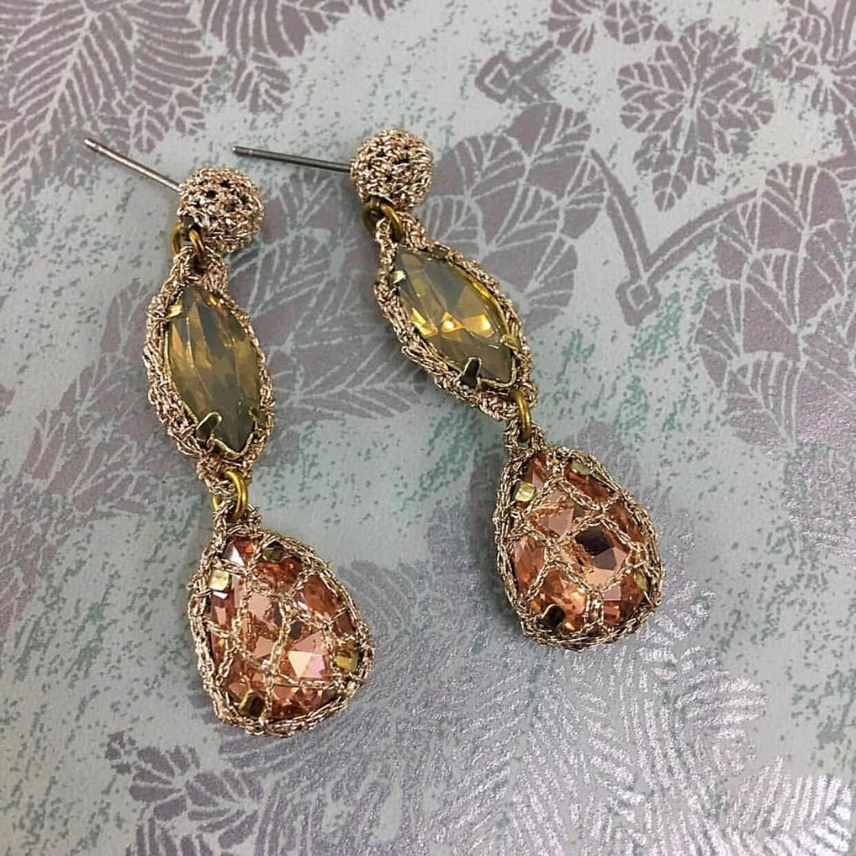 Venus Honey Drop Earrings in Silver Shade-Caramel
