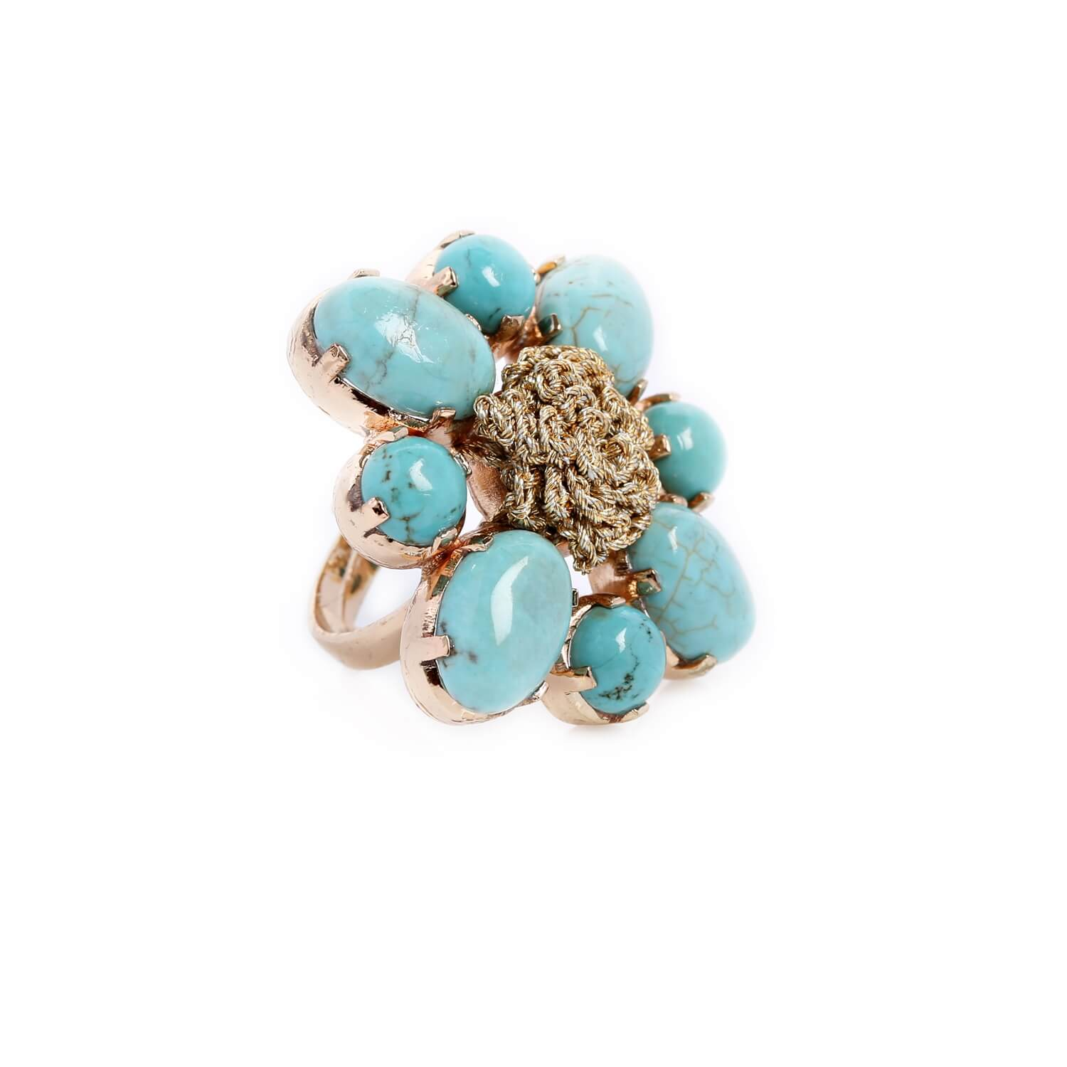 Nomad Flower Turquoise Cocktail Ring